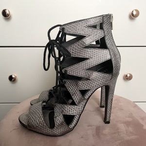 Sexy Lace-Up Faux Snakeskin Heels